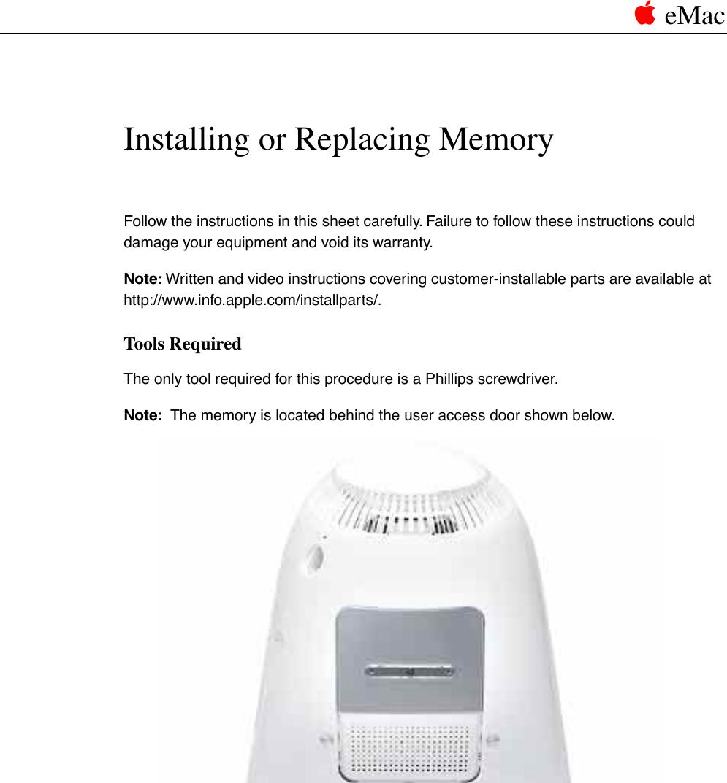 apple emac cip memory user manual e mac installing or replacing rh usermanual wiki Apple Laptops apple emac a1002 owner manual
