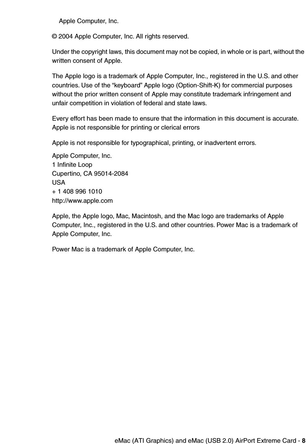 apple emac atigraphics  cip airport card user manual e mac