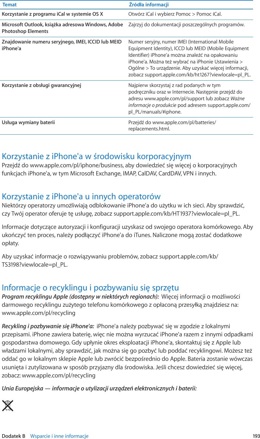 Apple IPhone 3GS Podręcznik Użytkownika User Manual I Phone