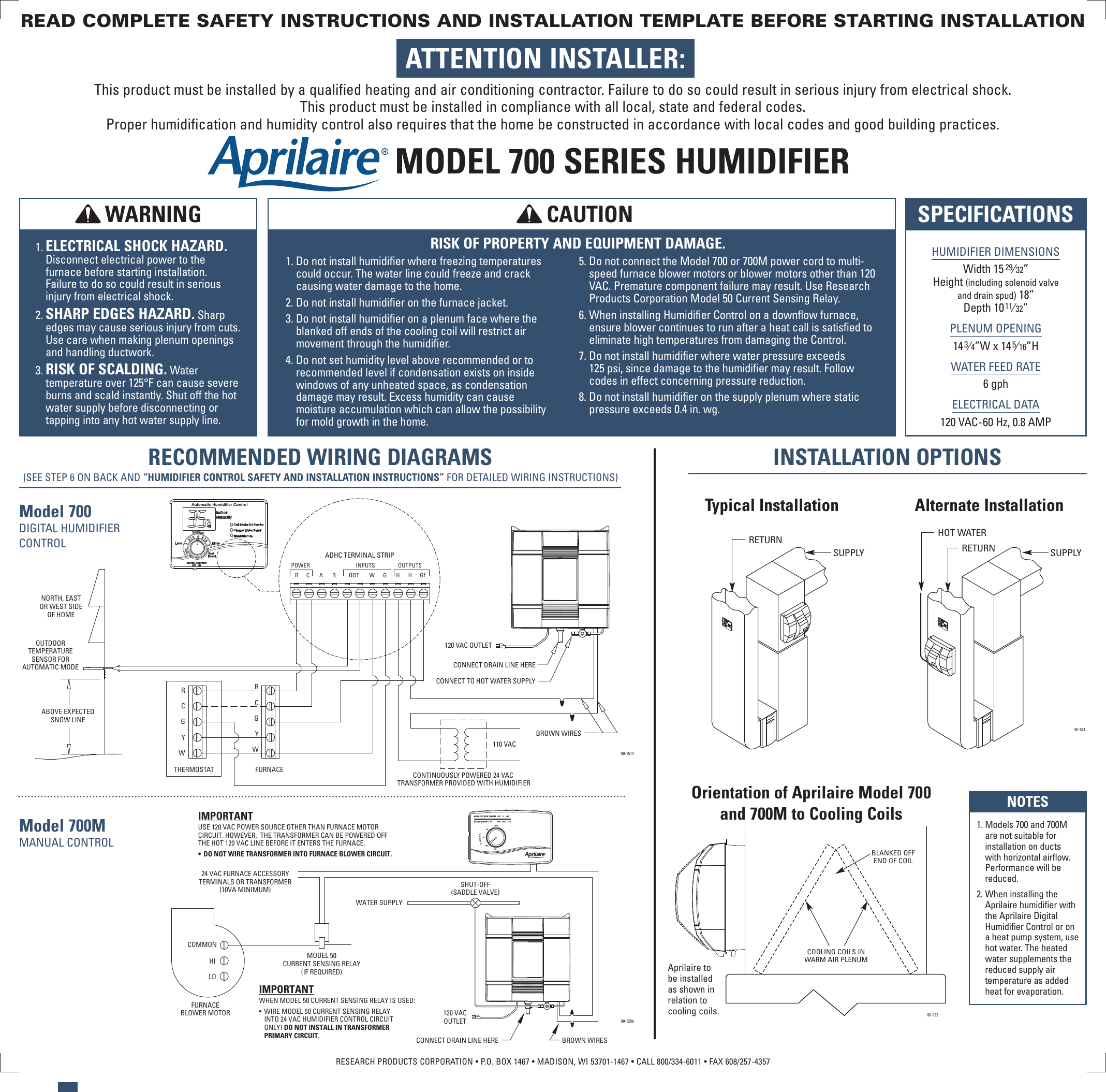 Aprilaire Humidifier 700 Users Manual 10008976a Aa To Furnace Wiring Diagram