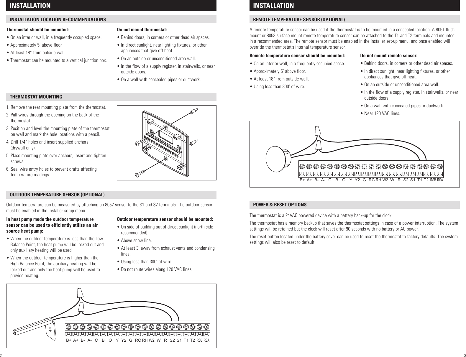 Aprilaire Thermostat 8800 Users Manual Wiring Diagram Page 2 Of 11