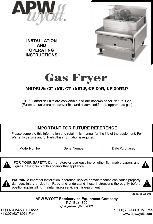 Apw Wyott Gf 15H Users Manual