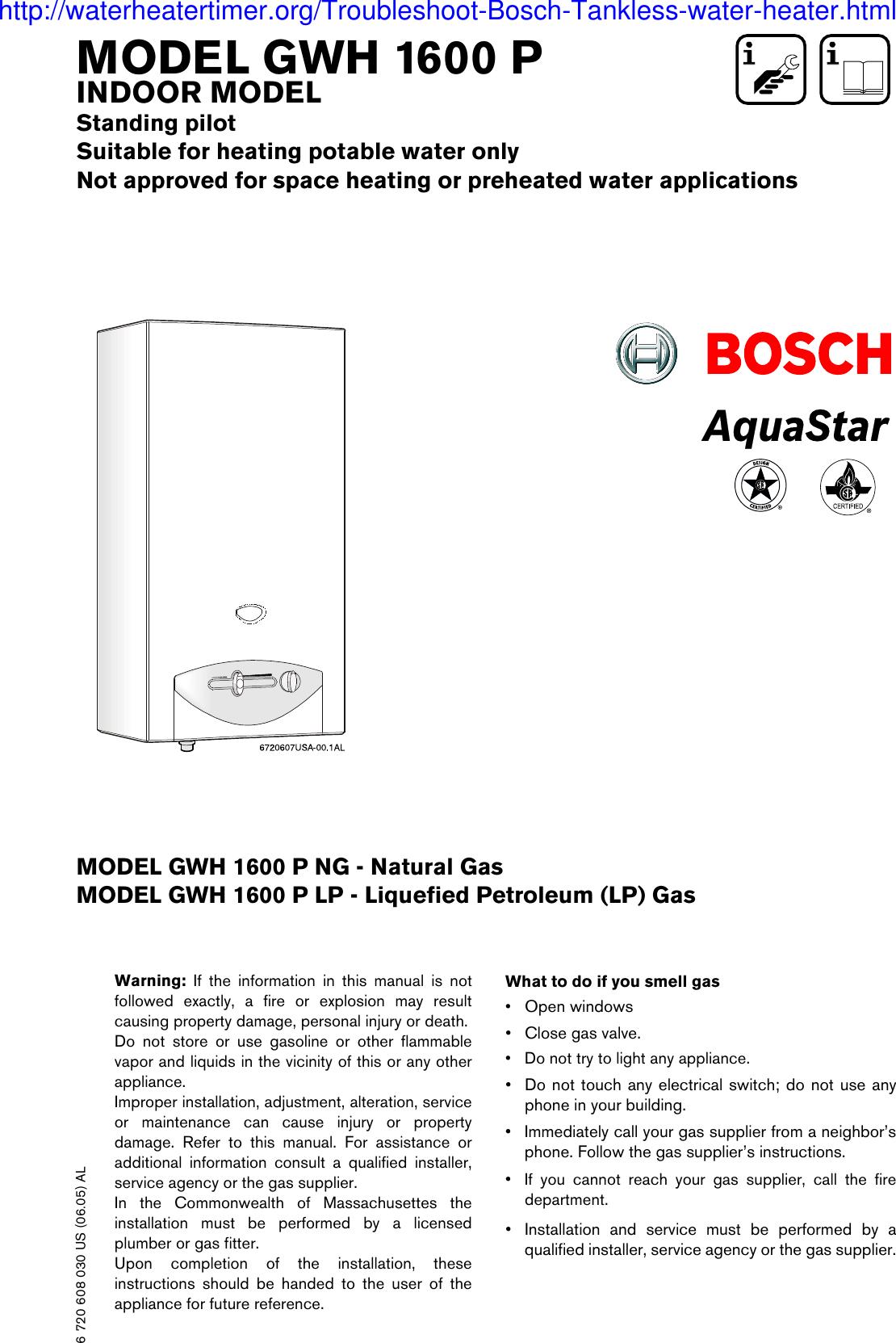 Aquastar Inc Water Heater Gwh 1600 P Users Manual 6720608030 0605 Gwh1600 20 June
