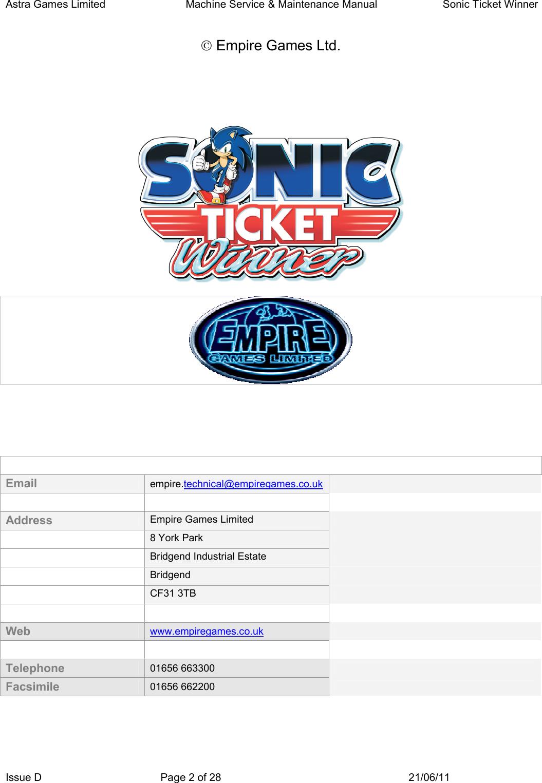 Arcade Sonic Ticket Winner Manual Series Redemption User