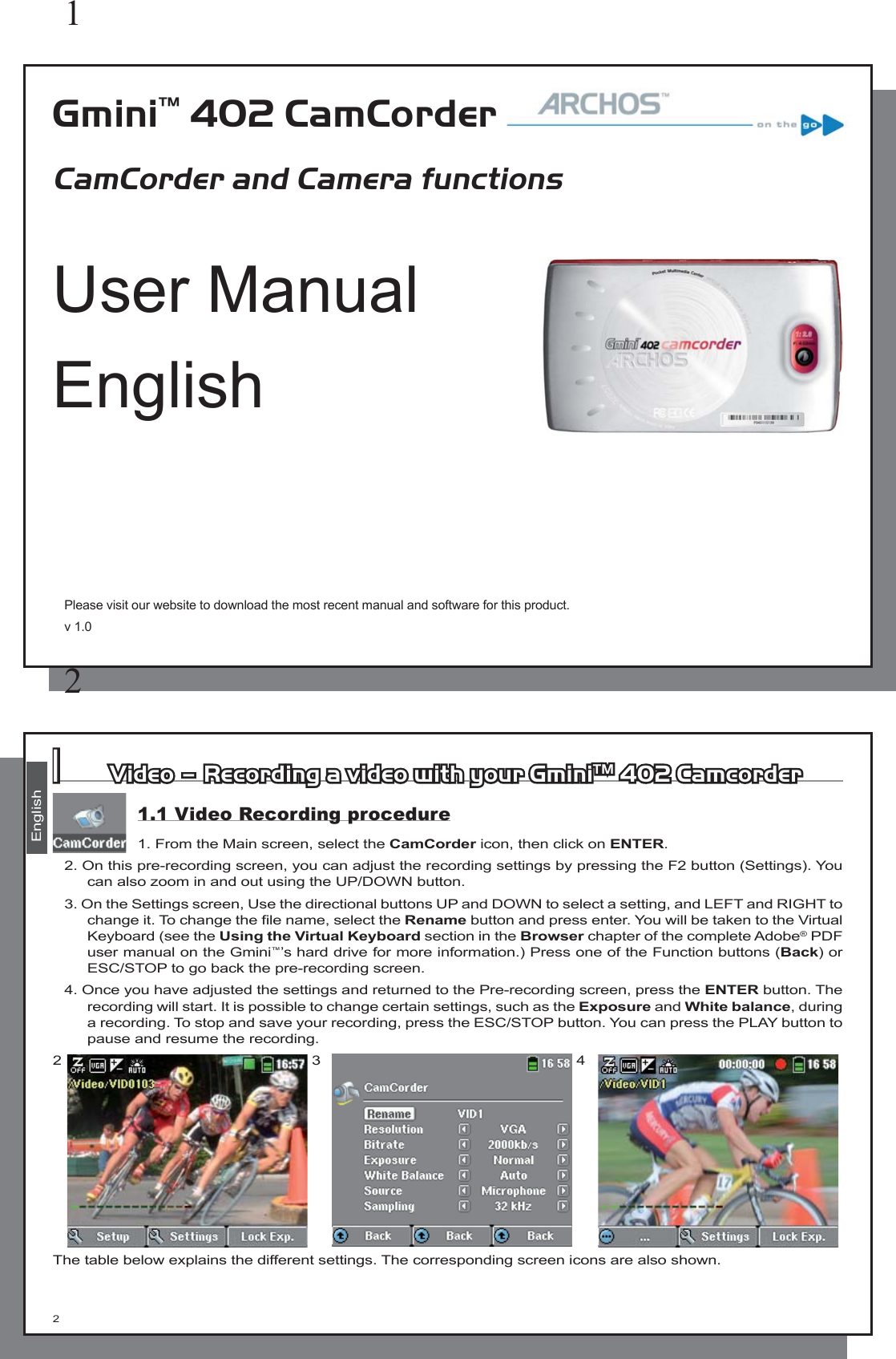 archos gmini 402 camcorder users manual en manual hd v10 indb rh usermanual wiki Washing Machine Manual Camcorder Remote Control