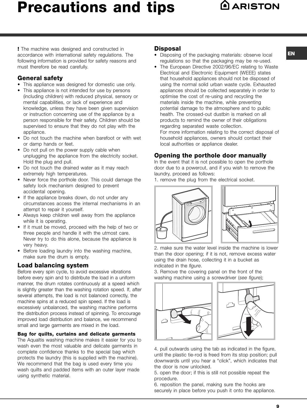 Ariston Washing Machine Aq9d 49 U H Users Manual Aqualtis Digit 2008 Gb Wiring Diagram Page 9 Of 12