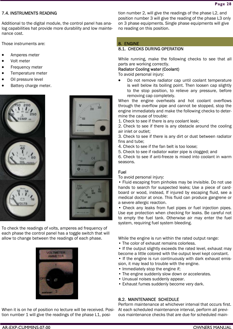 Armstrong World Industries Acum110 Users Manual Cummins Owners