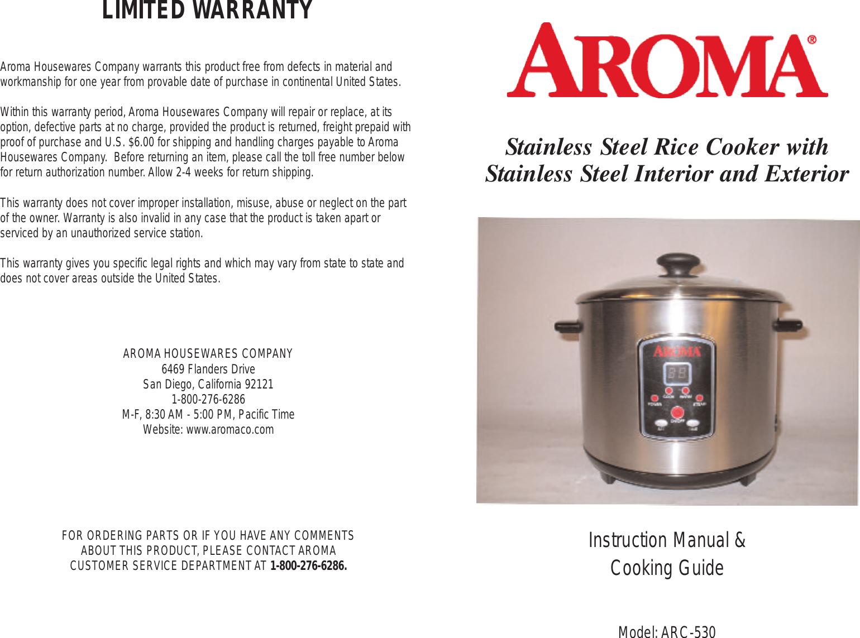 page 1 of 12 - aroma aroma-aroma-rice-cooker-arc-