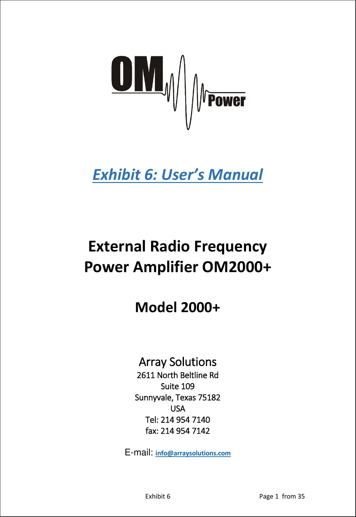 Array Solutions X8nom2000 Amateur Radio Service Frequency Amplifier Linear Hf User Manual Om2000
