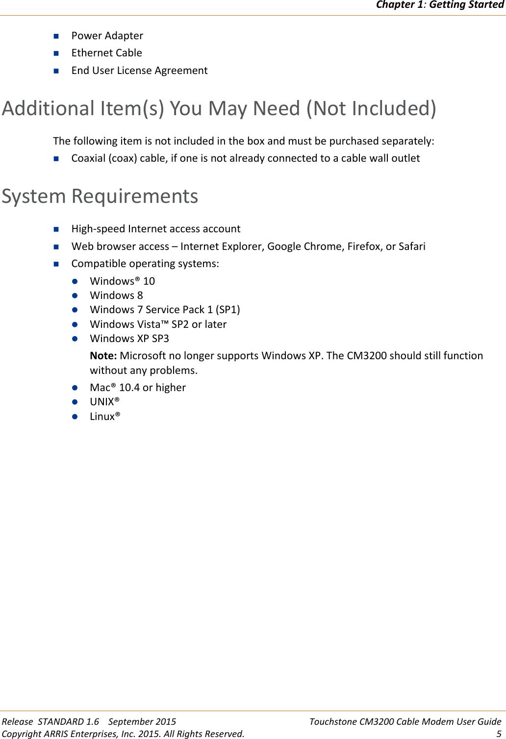 Arris CM3200 User Manual CM3200: Guide Cable Modem