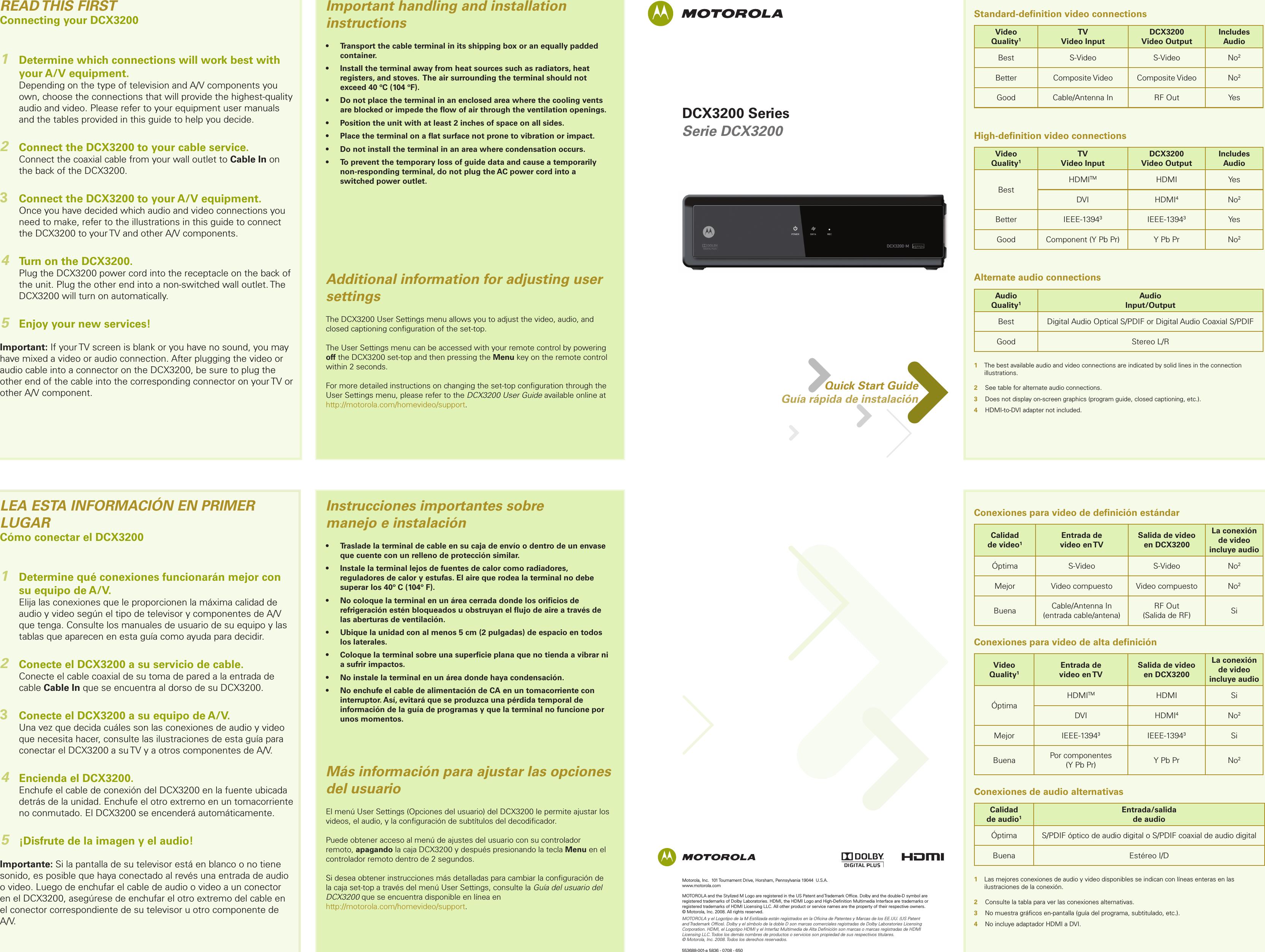 Arris DCX3200 User Manual DCX3200: Quick Start Guide DCX3200