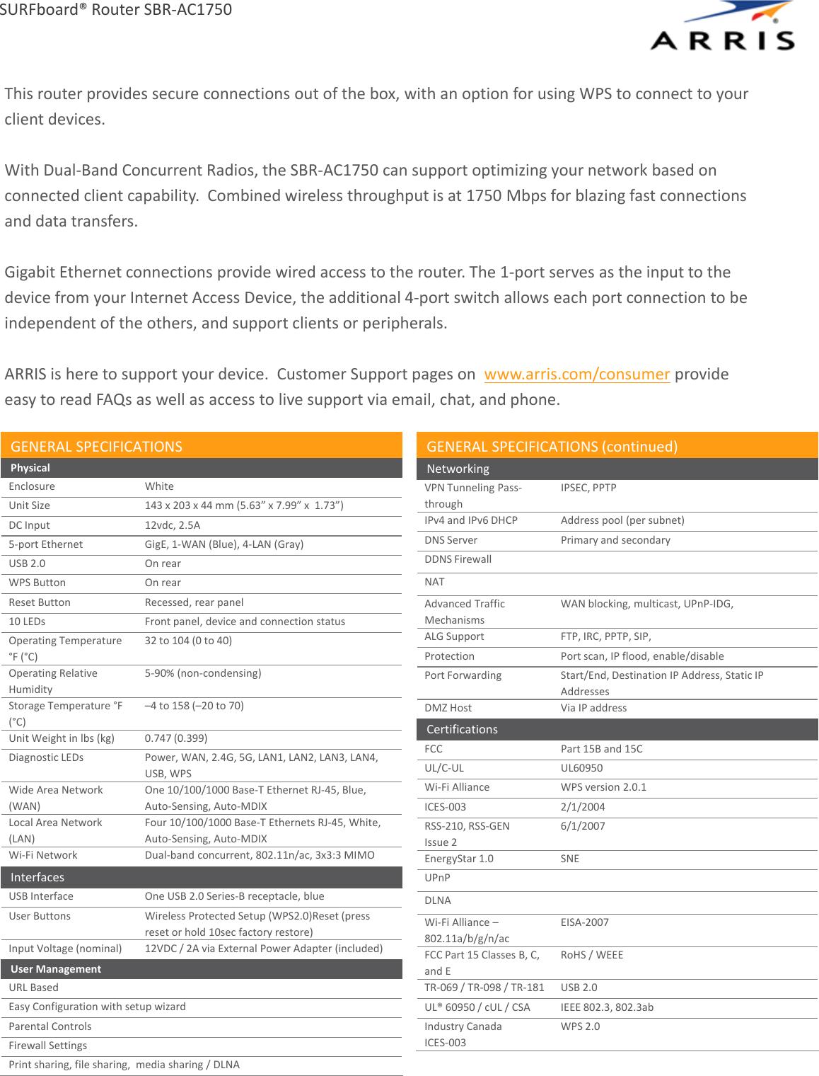 Arris SBR AC1750 1 User Manual Specifications Data Sheet