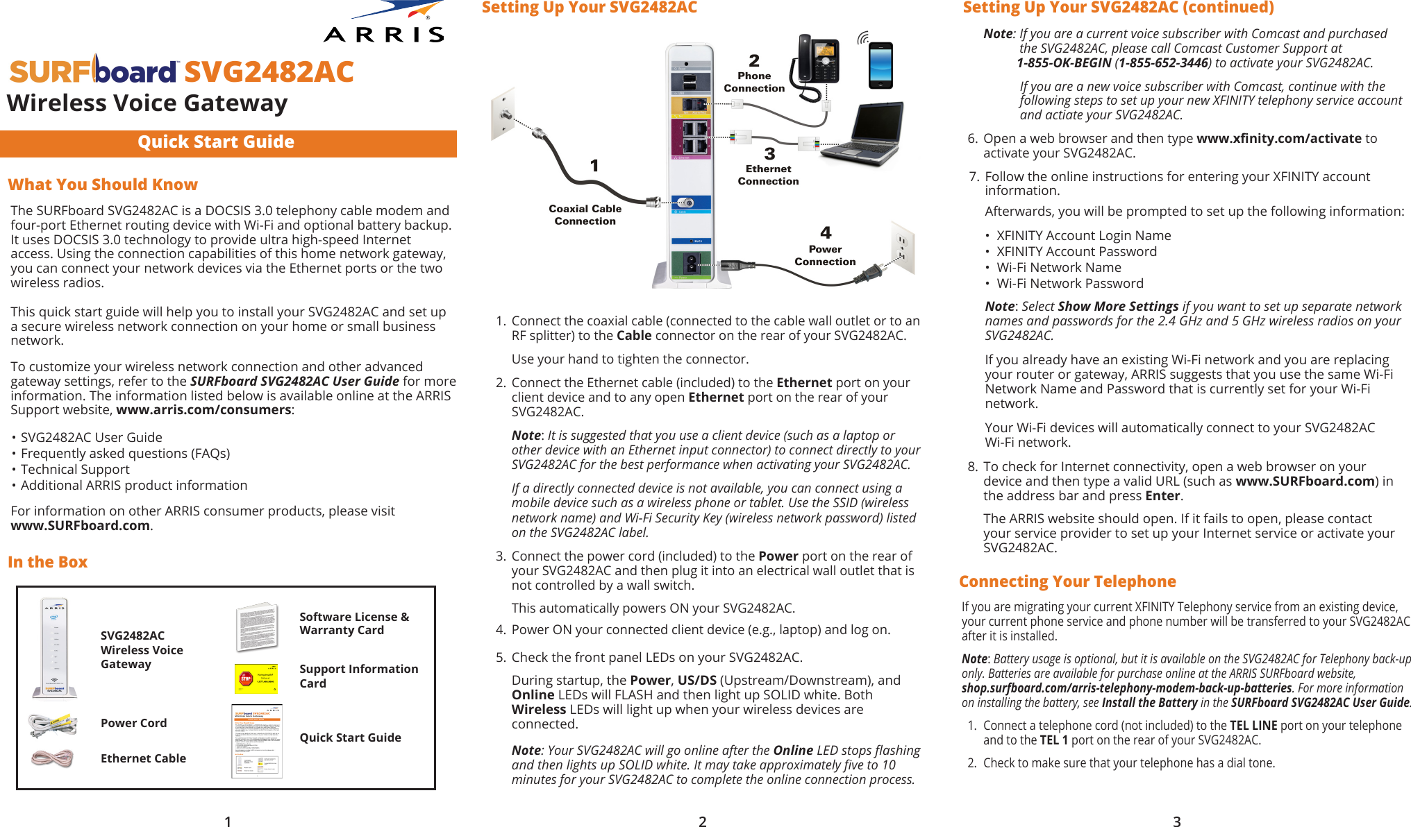 Arris Svg2482ac User Manual Quick Start Guide Qsg Comcast Wifi Wiring Diagram For Set Up