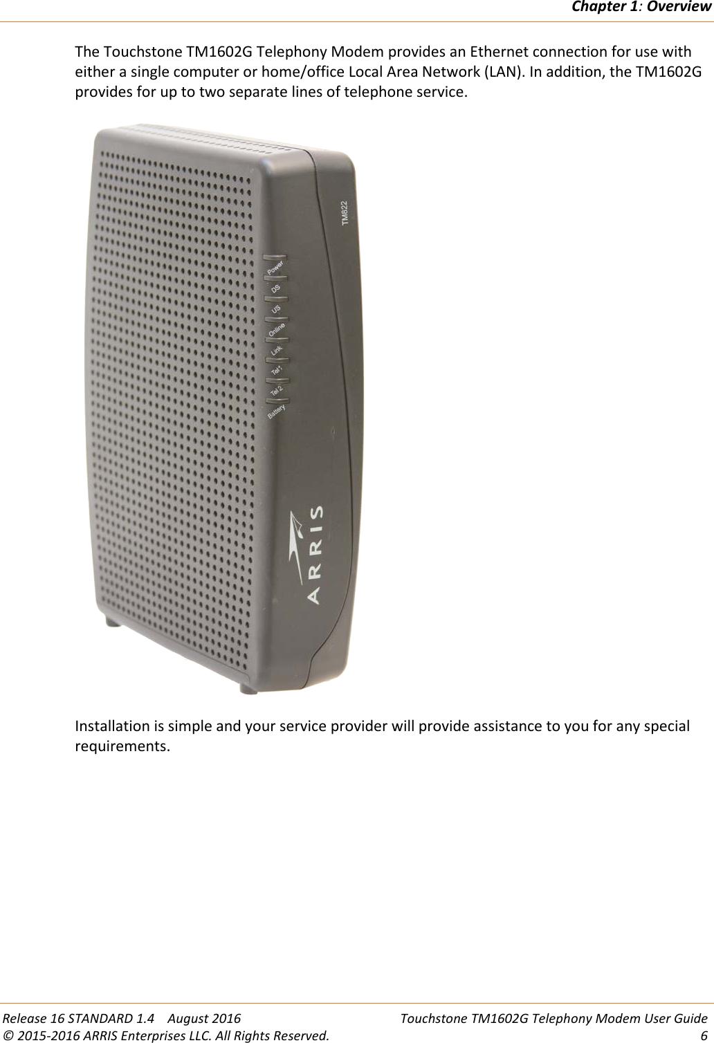 Arris TM1602G/NA User Manual TM1602G/NA: Guide TM1602G NA+