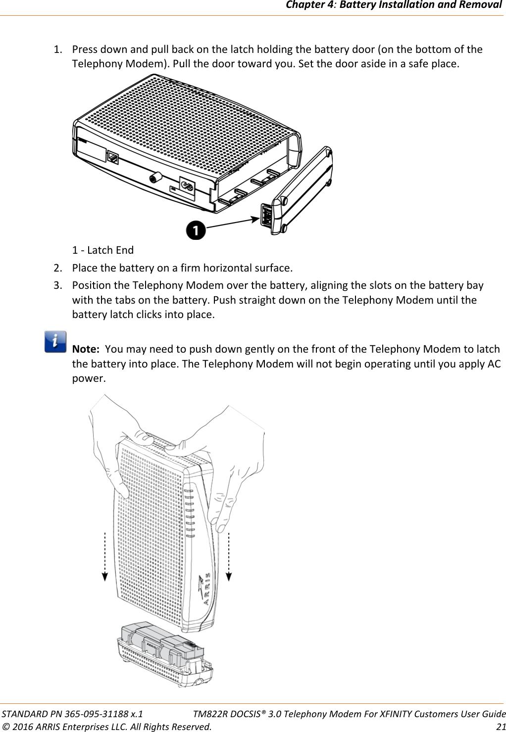 Arris TM822R User Guide Manual TM822R: on