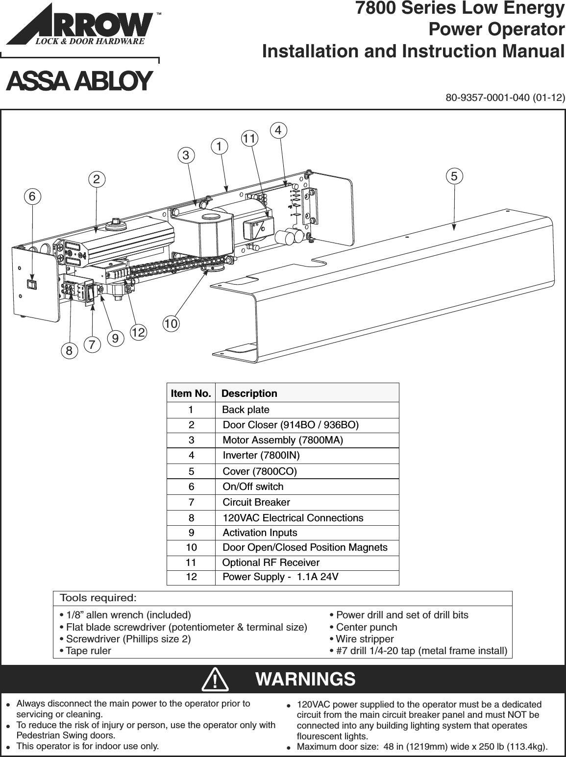 Arrow 80 9357 0001 040 01 12 7800 Series Instructions Instruction Circuit Open Microswitch Wiring Page 1 Of