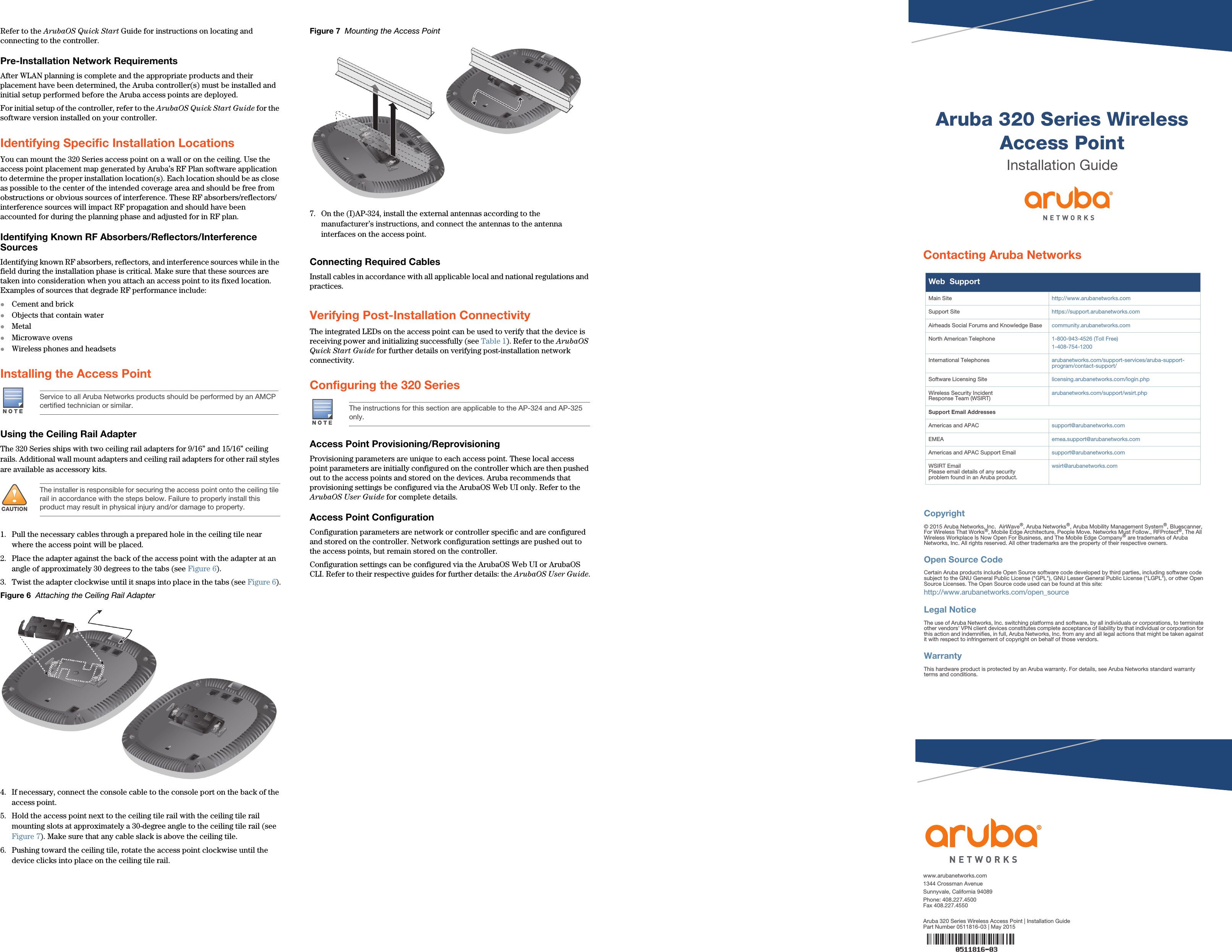 Aruba Networks APIN0324325 Wireless Access Point User Manual