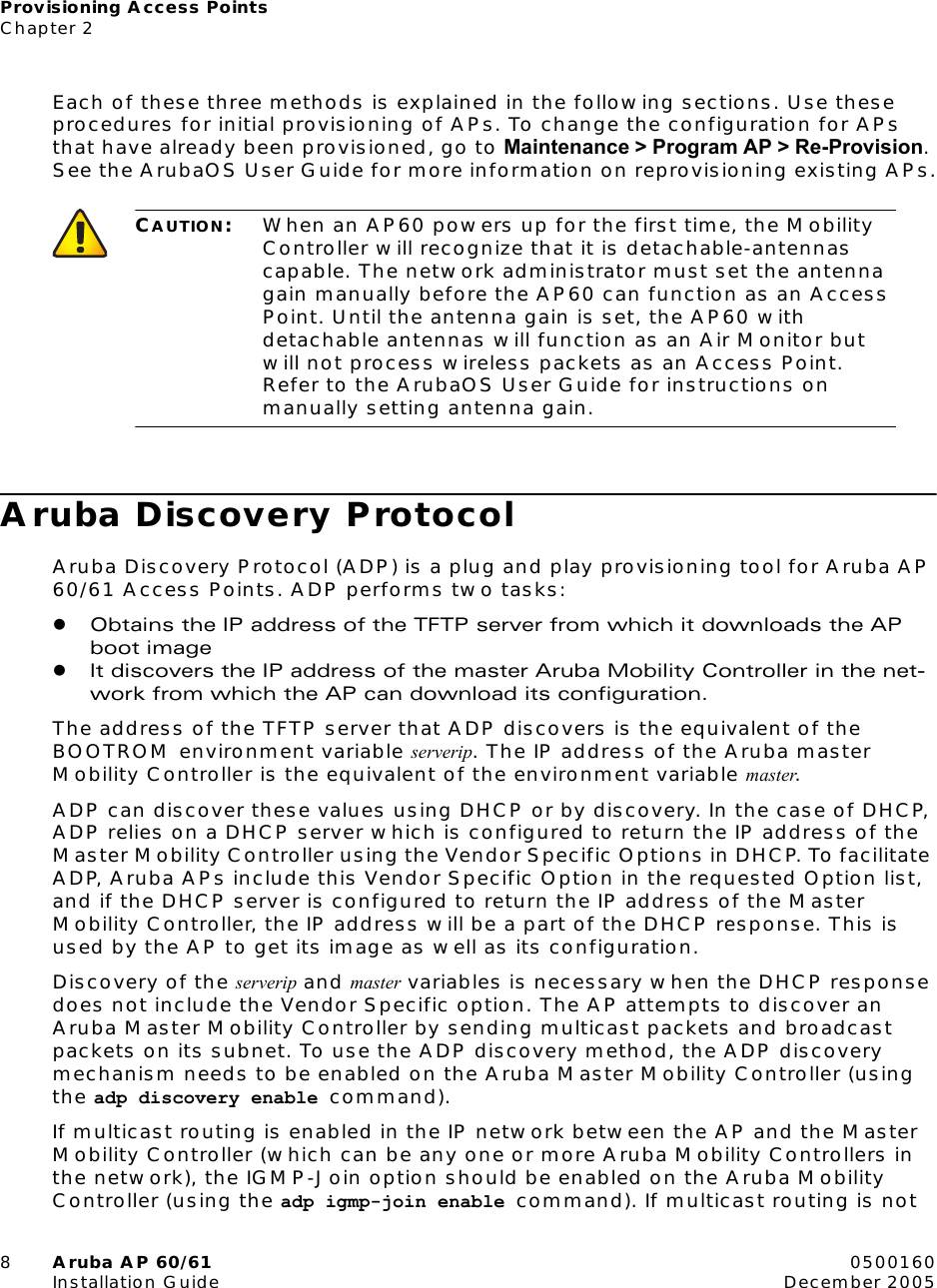 Aruba Networks Access Point Ap 60 61 Users Manual