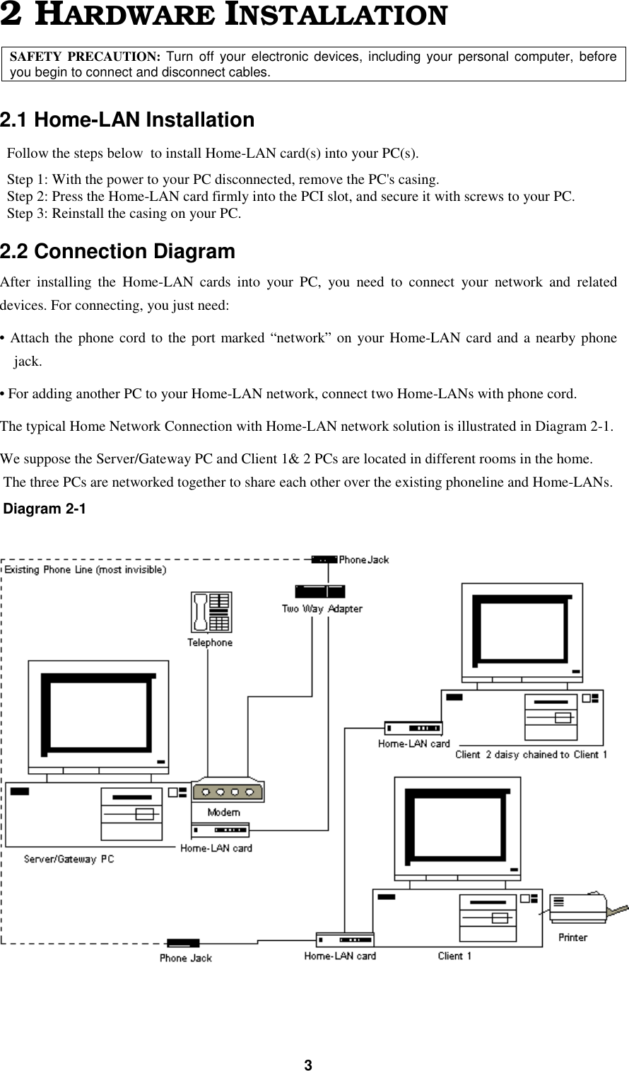 Askey Computer Hnh010d75 Home Lan Modem User Manual Network Connection Diagram 32 Hardware Installationsafety Precaution Turn Off Your Electronic Devices Including Personal