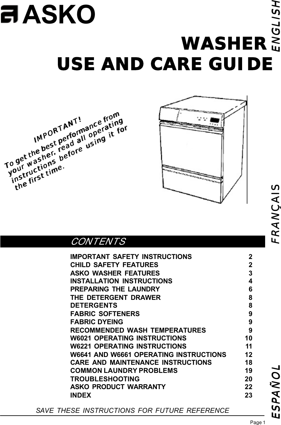 Asko W6641 W661 Use And Care Manual Wiring Diagram For Dishwasher