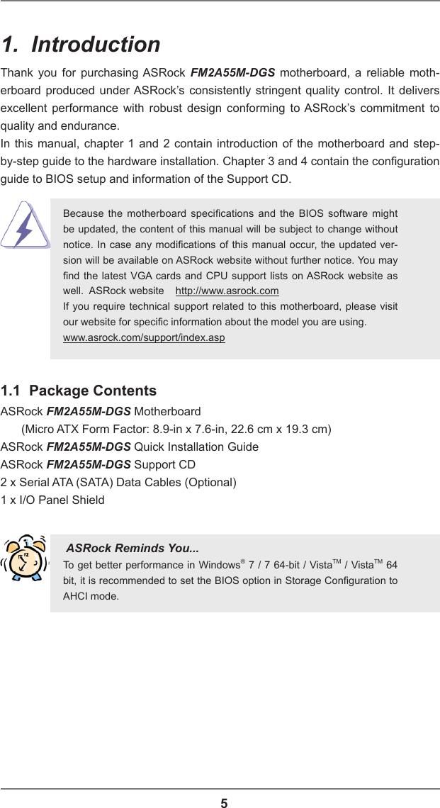 Asrock Fm2A55M Dgs Owner S Manual