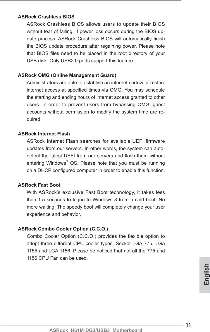 Asrock H61M Dg3 Usb3 Quick Start Guide DG3_USB3_QIG_ASR