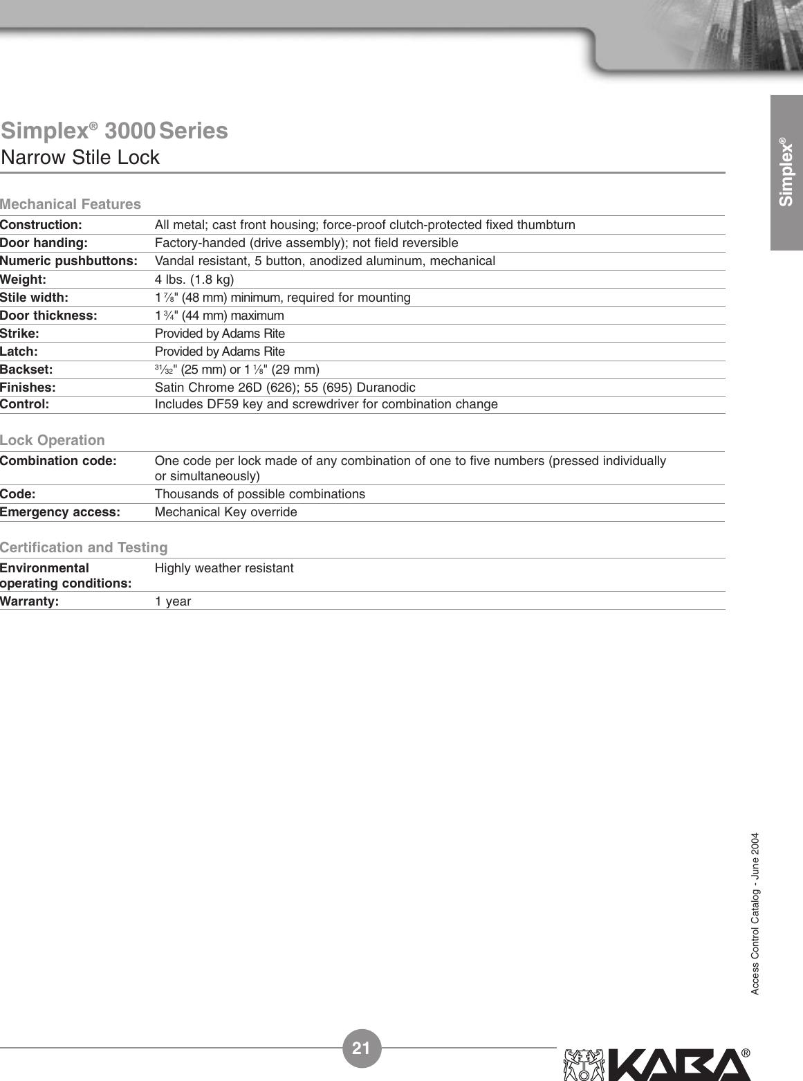 Assa Simplex Mechanical Pushbutton Locks Users Manual