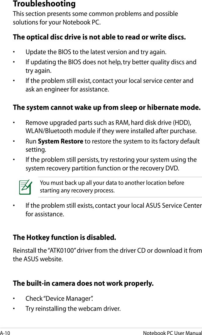 Asus A46Cb Owner S Manual