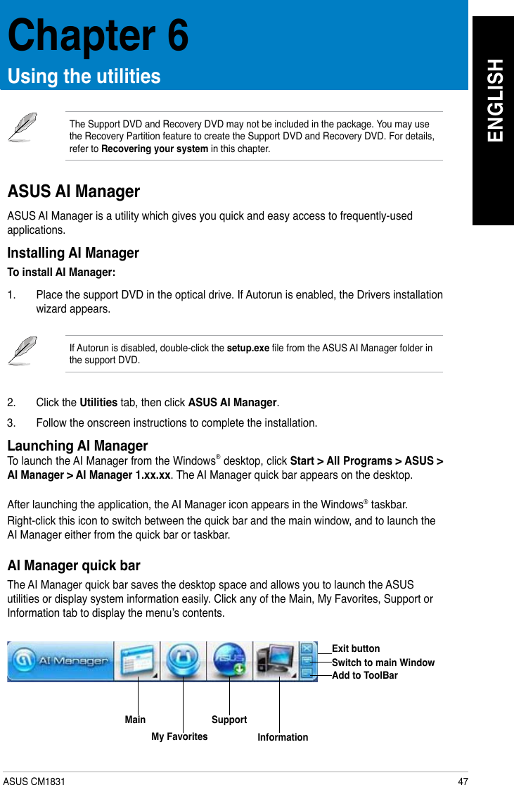 Asus Essentio Desktop Cm1831 Us 3Aa Users Manual