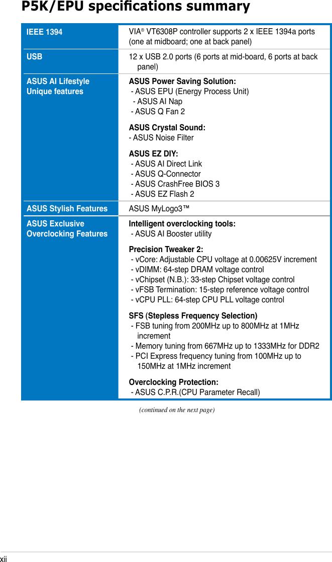 Asus Motherboard P5K Epu Users Manual