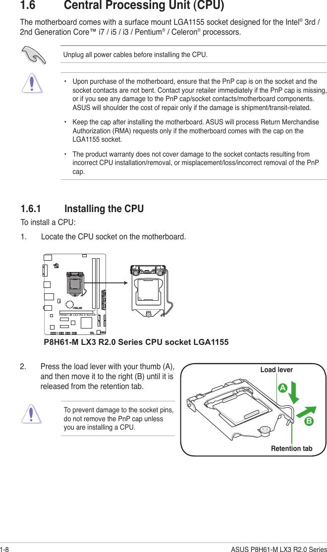 Asus P8H61 M Lx3 R2 0 Desktop Motherboard Plus Users Manual