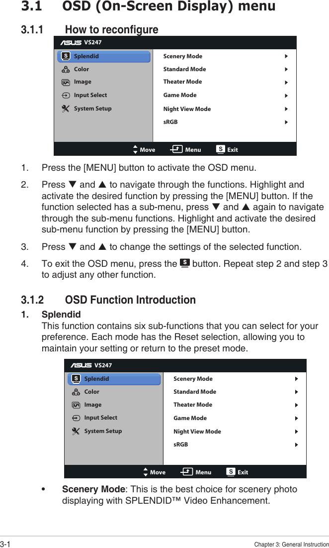 Asus Widescreen Lcd Monitor Vs228H P Users Manual