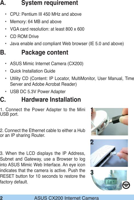 Asus Mimic Internet Camera Cx200 Users Manual