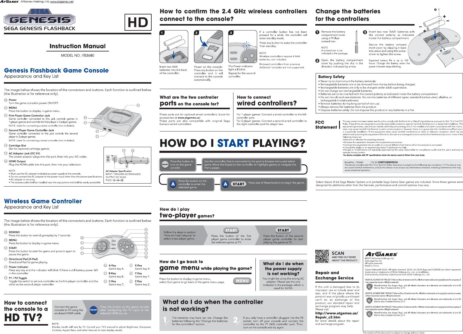 atgames digital media 3680sega sega genesis flashback user manual rh usermanual wiki sega mega drive 2 user manual sega instruction manuals