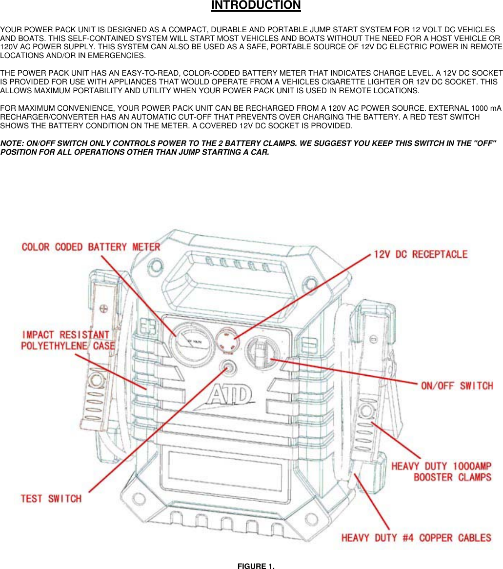Atd Tools Automobile Battery Charger 5928 Users Manual Atd5928 Jump Start Car Diagram Page 2 Of