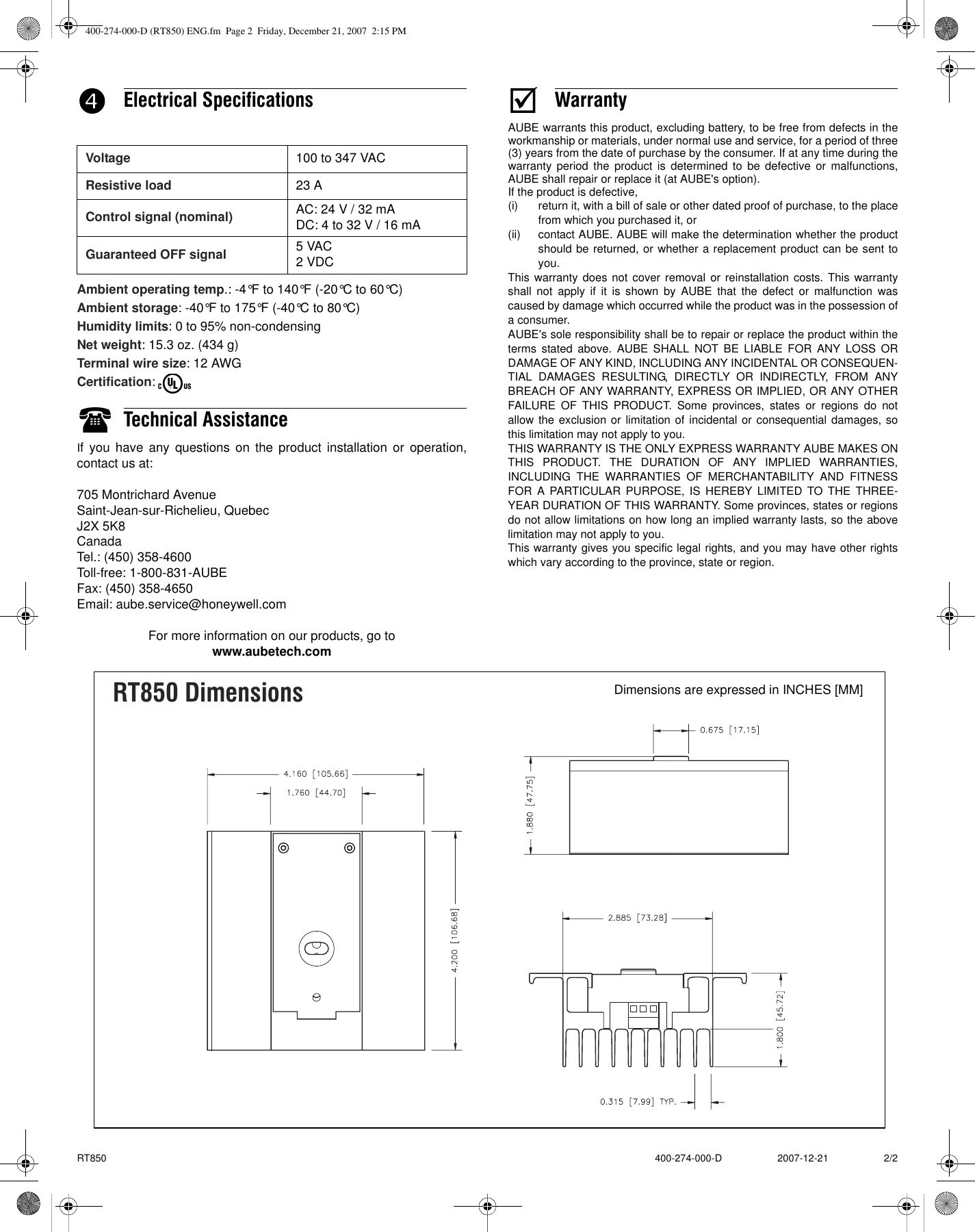 Aube Technologies Electric Heating Solid State Relay Rt850 Users Solidstaterelay Schematic Page 2 Of