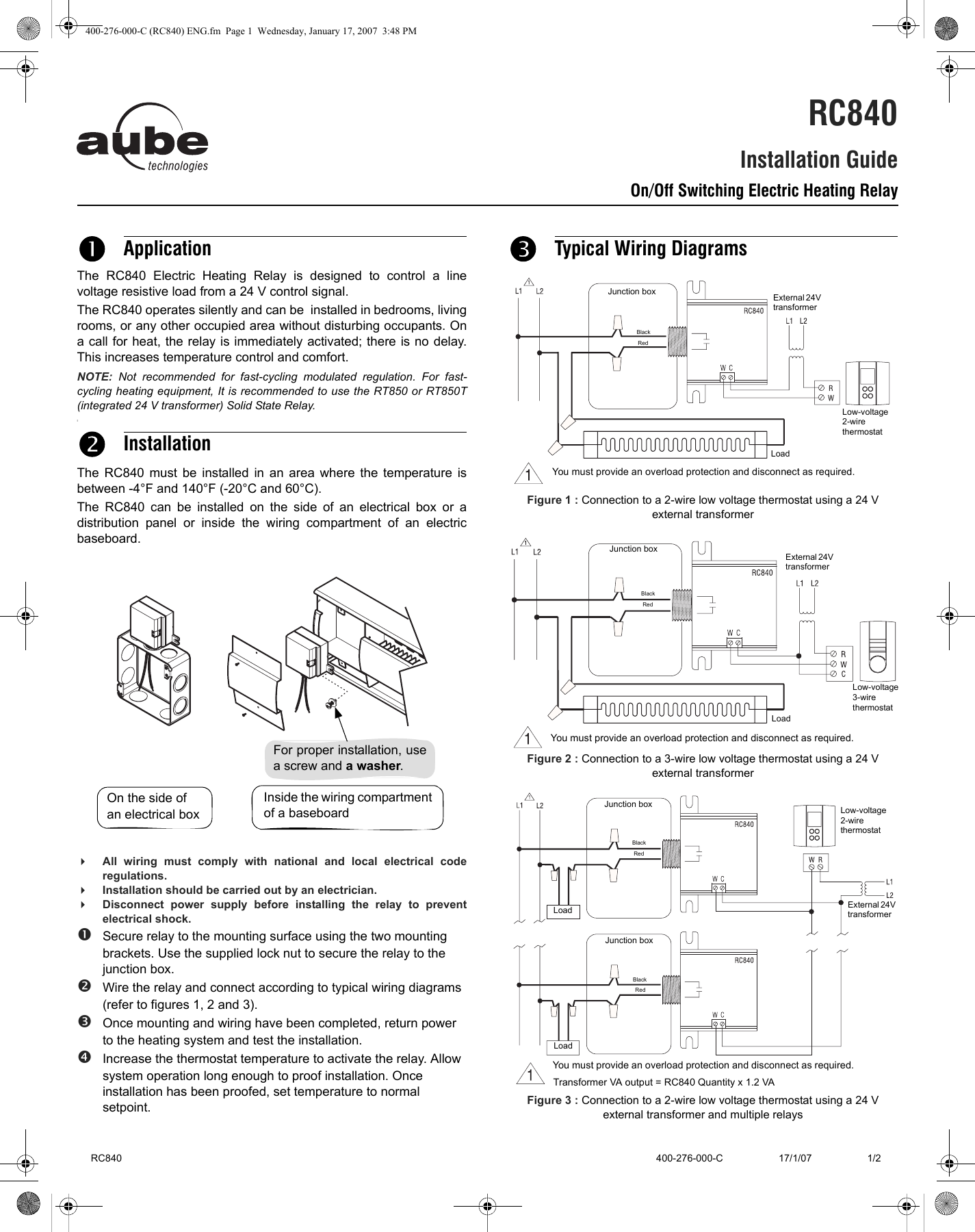 Aube Technologies Rc840 Users Manual 400 276 000 C Rc840 Eng