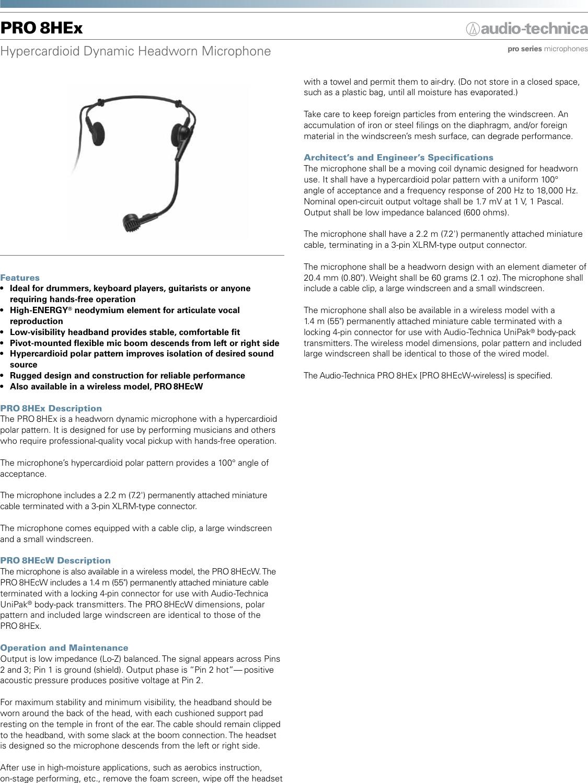 Audio Technica Pro 8Hex Users Manual
