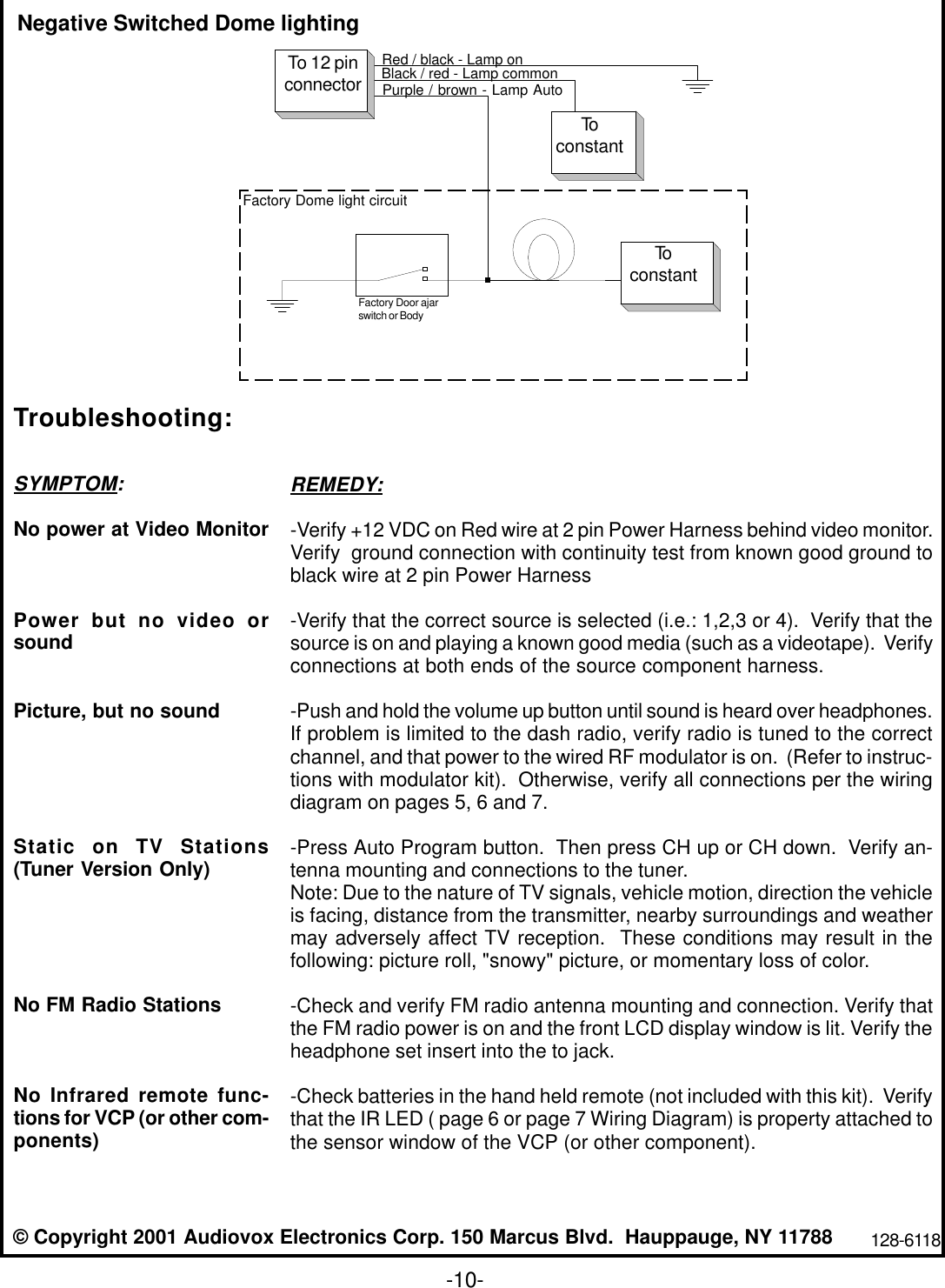 Audiovox Drop Down Video Monitor Voh683 Users Manual 1285622b Wiring Diagrams Page 12 Of