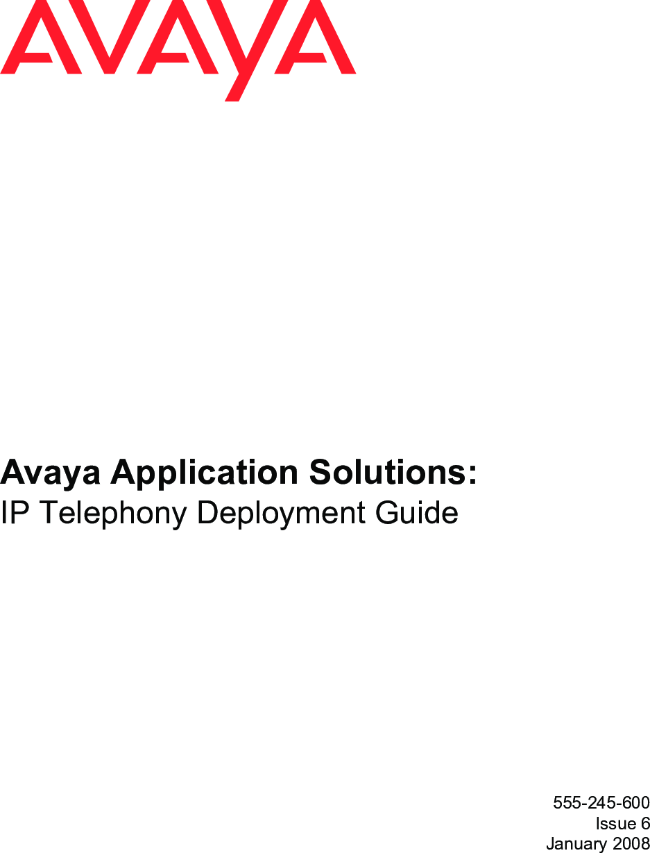 Avaya 555 245 600 Application Solutions User Manual To The ...