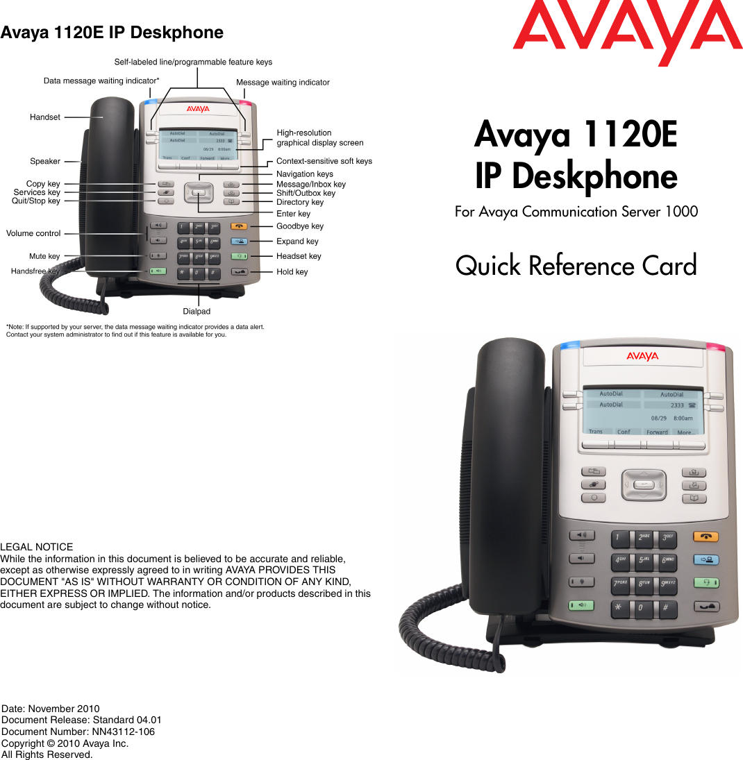Avaya 1120E Quick Reference Guide Nortel Networks IP Phone Card