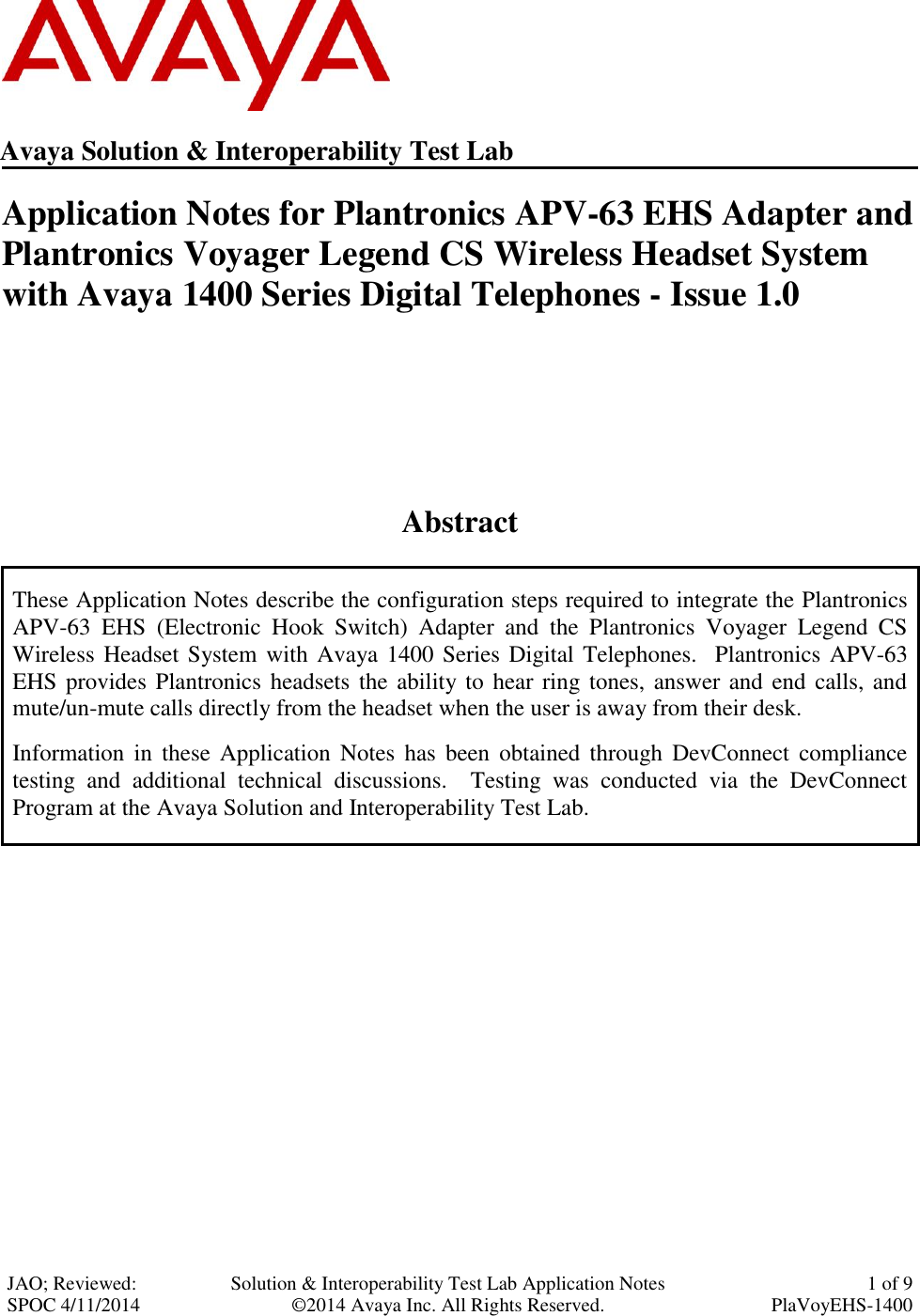 Avaya 1400 Series Digital Telephones Application Note Notes For Plantronics Apv 63 Ehs Adapter And Voyager Legend Cs Wireless Headset System With S