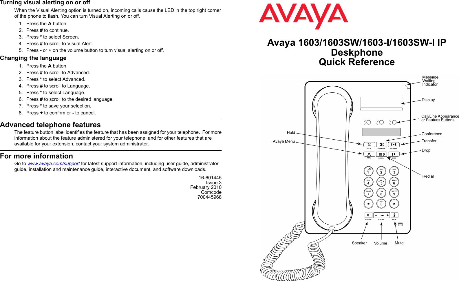 Avaya 1603sw i инструкция