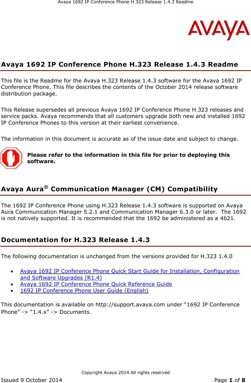 avaya 1692 ip conference phone h 323 users manual h 323 1 4 3 readme rh usermanual wiki Avaya Phones User Guide User Guide Avaya Phones User Guide User Guide