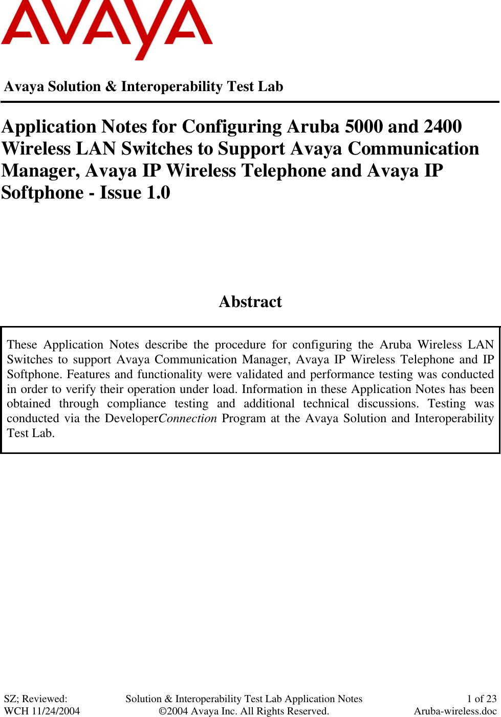 Avaya 4600 Series Ip Telephones Application Note Notes For