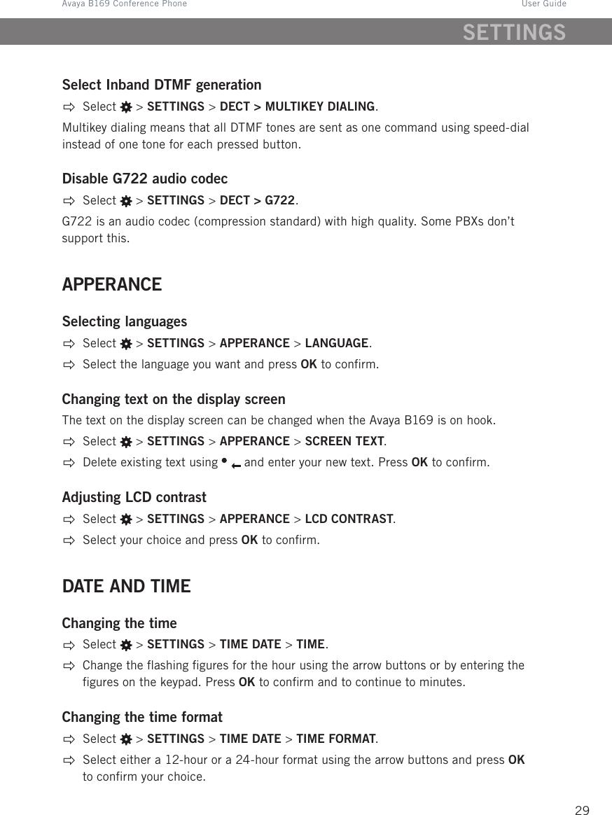 Avaya B169 Conference Phone User Guide