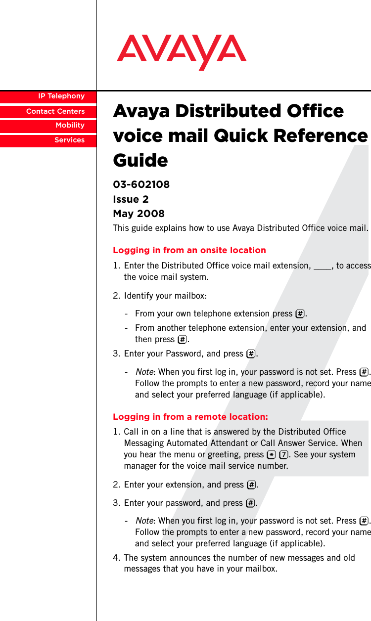 avaya distributed office voice mail quick reference guide 03 602108 rh usermanual wiki  ip office embedded voicemail quick reference guide