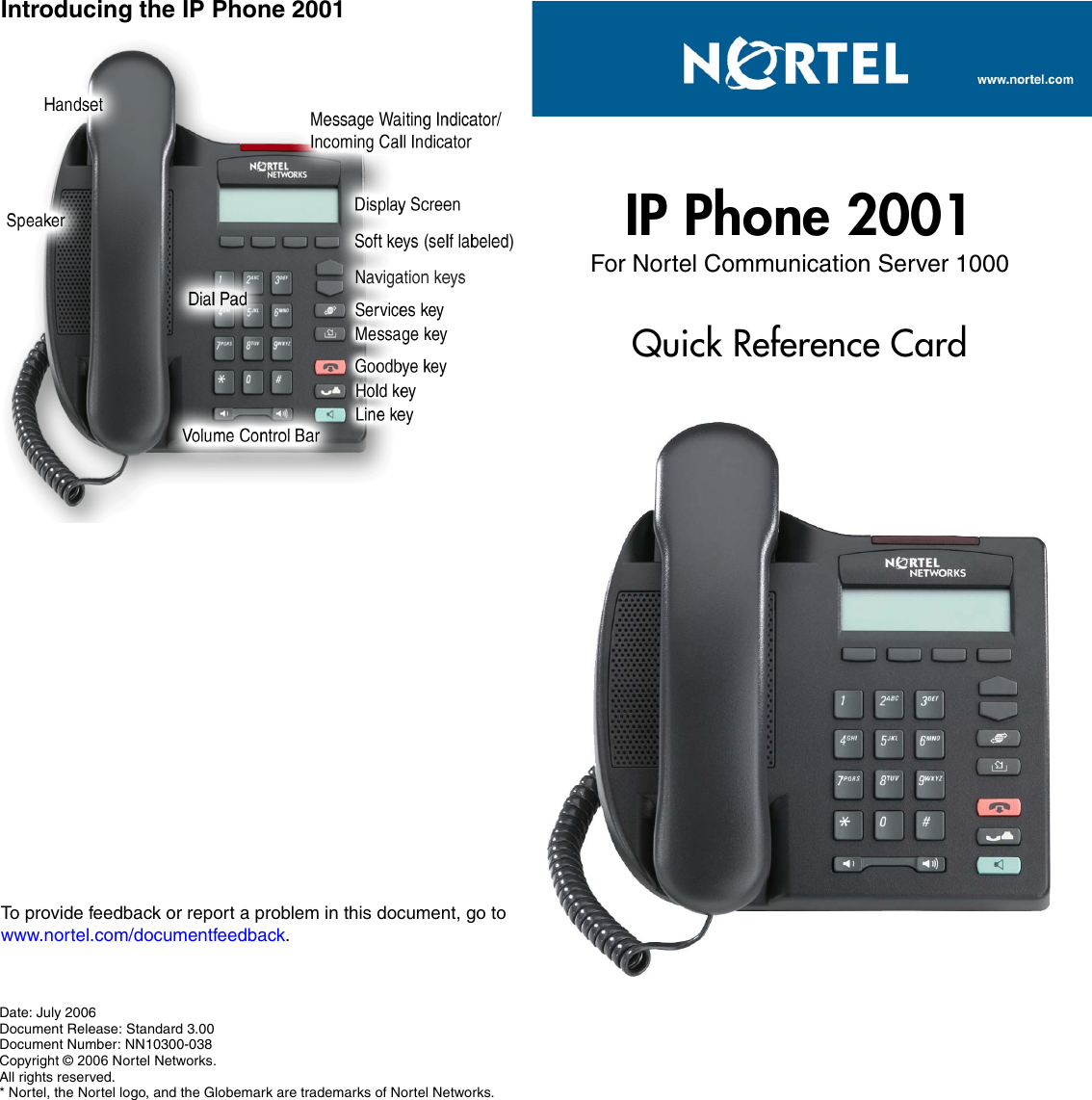 Avaya Ip Phone 2001 Quick Reference Guide Nortel Card