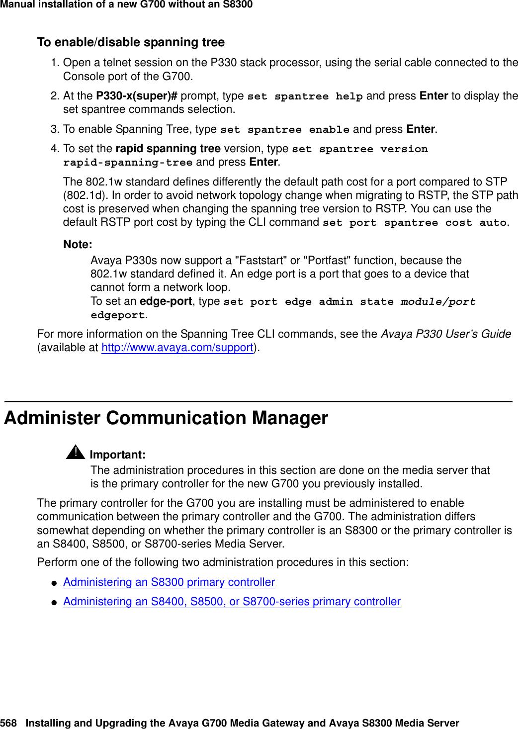 Avaya Media Gateway G700 Users Manual Installing And