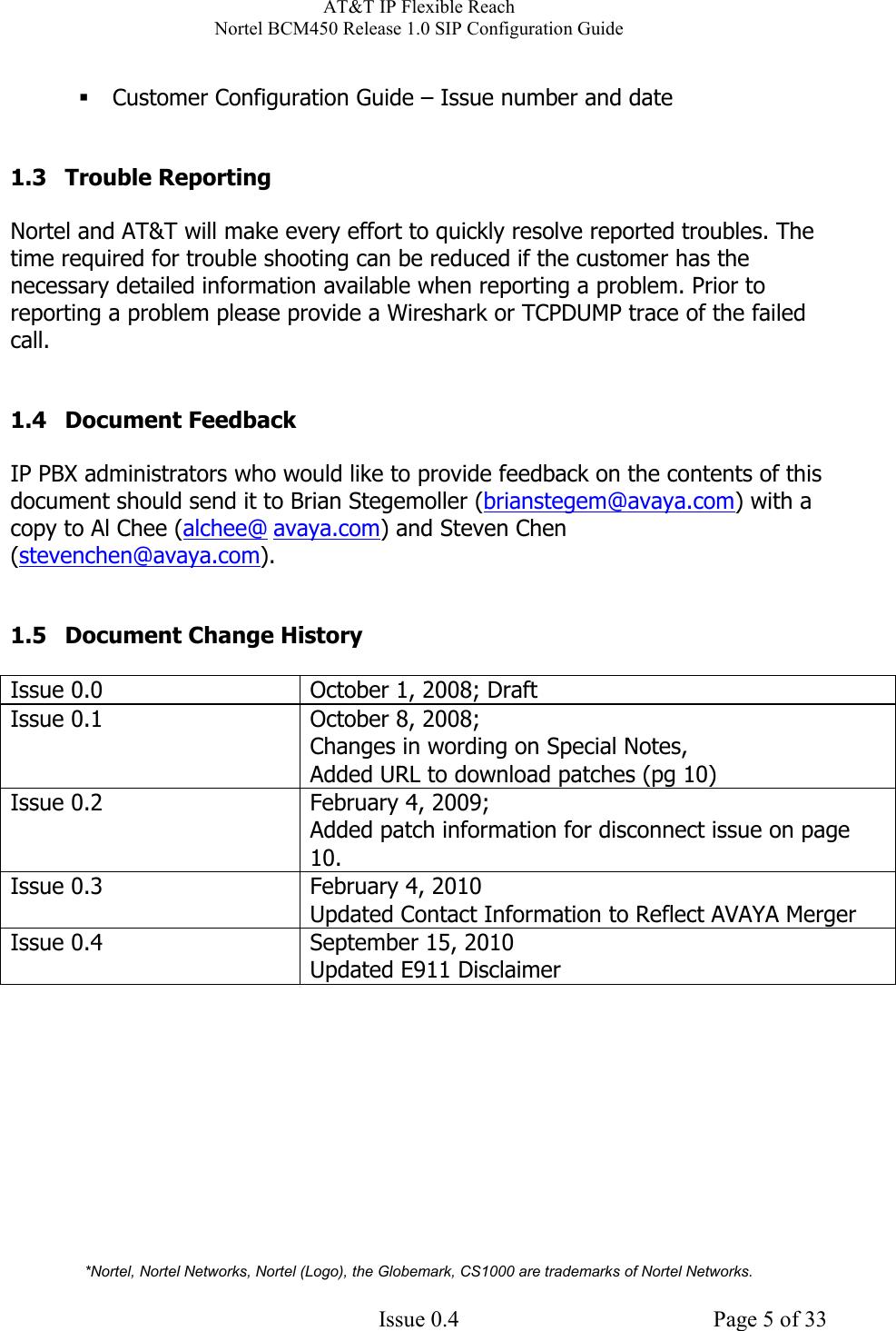 Avaya Nortel Bcm450 Release 1 0 Sip Configuration Guide